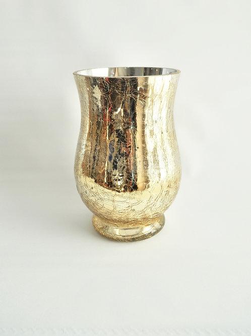 Champagne Gold Mercury Glass Vase-Medium Scalloped