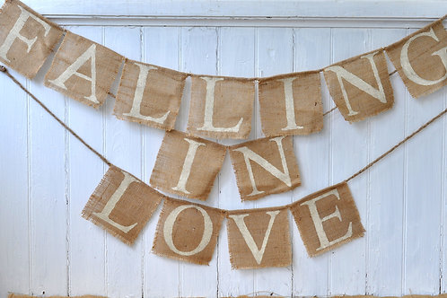 """Falling in Love"" Burlap Banner"