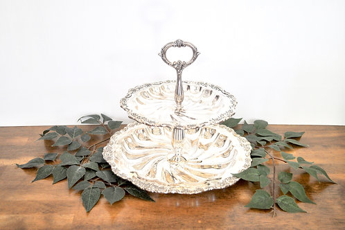Antique Silver Two Tiered Dessert Tray