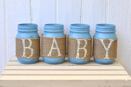 Blue and Burlap Baby Mason Jars
