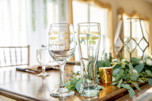Wedding Couple Drinking Glasses