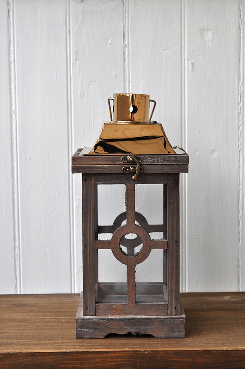 Copper and Wood Rectangle Circle Lantern