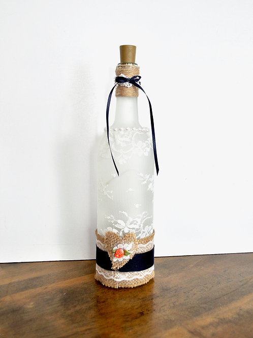 Lace & Navy Decorated Wine Bottles