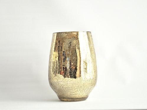 Champagne Gold Mercury Glass Vase- Small Round