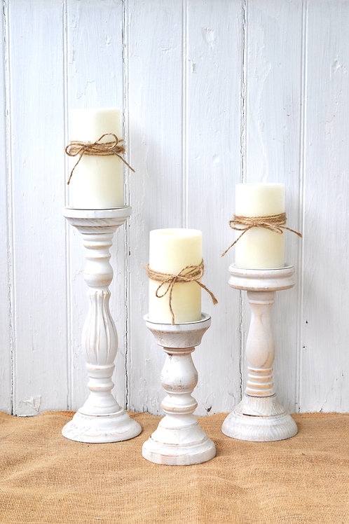 White Wooden Candle Holders