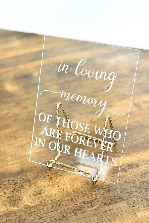 Acrylic Memorial Sign