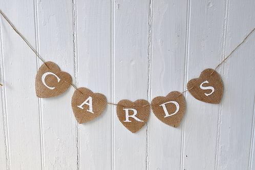 """White """"Cards"""" Heart Burlap Banner"""