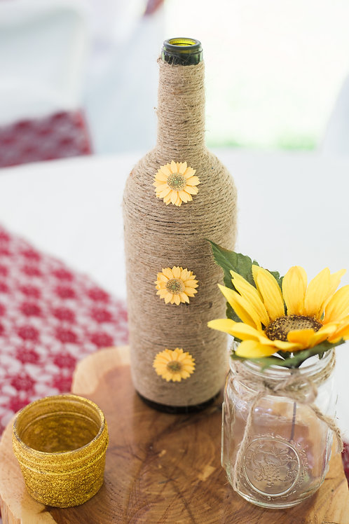 Sunflower Twine Bottles