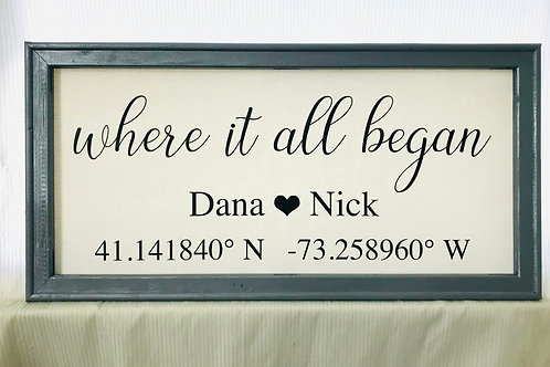 Where It All Began Coordinates Canvas Sign