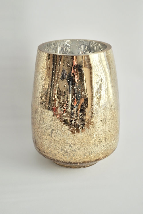 Champagne Gold Mercury Glass Vase- Medium Round