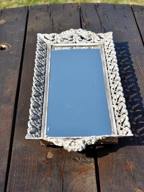Long Vintage White Mirror Tray