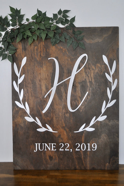 Initial and Date Wood Sign