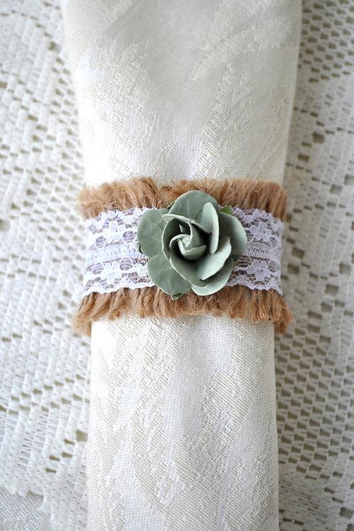 Sage Flower and Burlap Napkin Rings