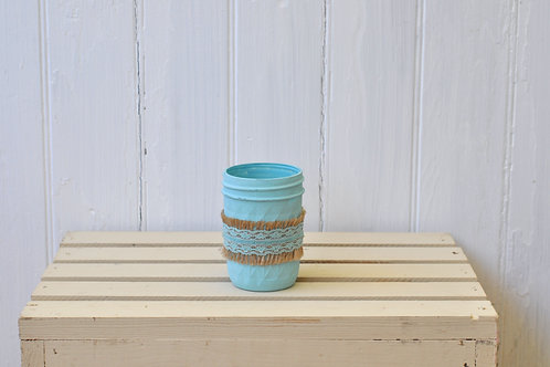 Blue and Burlap Mason Jar