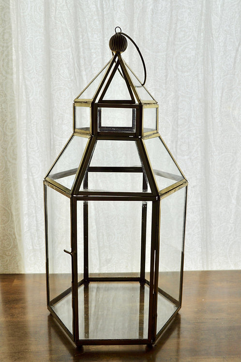 Tall Gold Hexagon Lantern