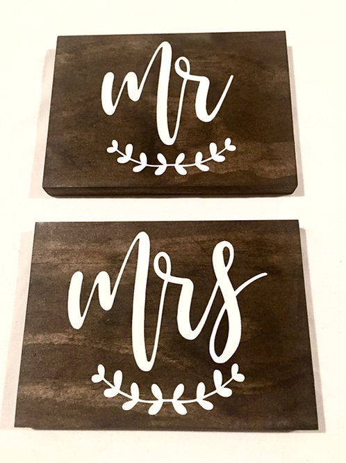 Mr & Mrs Brown Wood Signs
