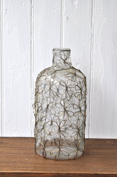 Bronze Floral Wired Glass Vase