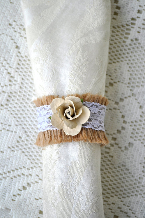 Ivory Flower and Burlap Napkin Rings