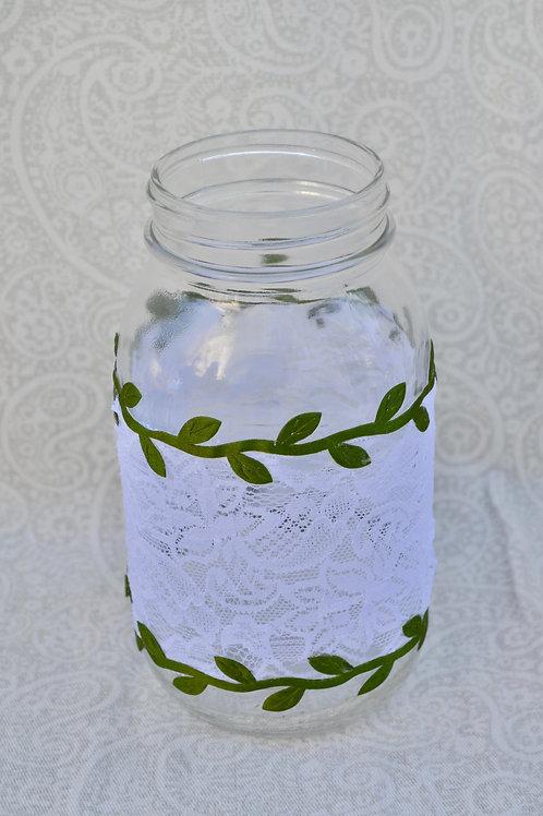 Lace and Greenery Mason Jars