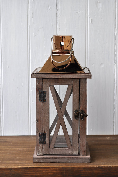 Copper and Wood Rectangle Cross Lantern