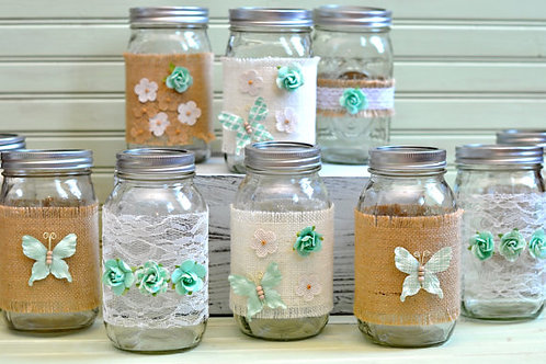 Mint Decorated Mason Jars