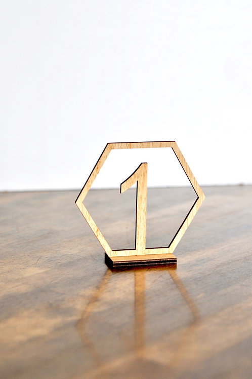 Wood Hexagon Table Numbers