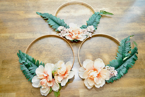 Set of 3 Blush Floral Hoops