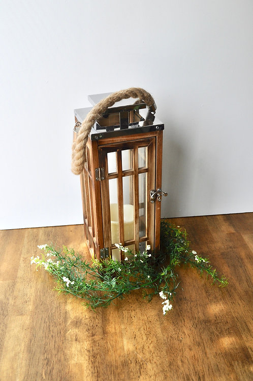 Silver Wooden Lantern w/ Candle
