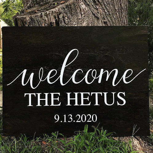 Welcome Last Name and Date Wood Sign