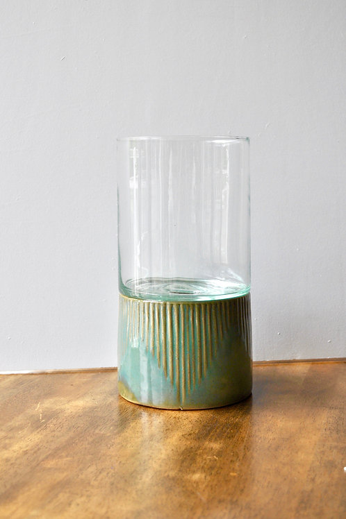 Teal and Bronze Candle Holder/Vase