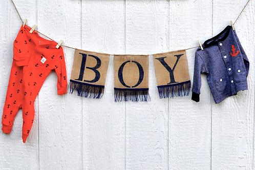 Navy Boy Burlap Banner