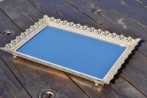 Large White & Gold Mirror Tray