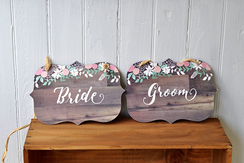 Floral Bride and Groom Chair Signs