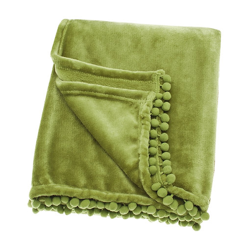 Lime Coloured Cashmere Touch Fleece Throw