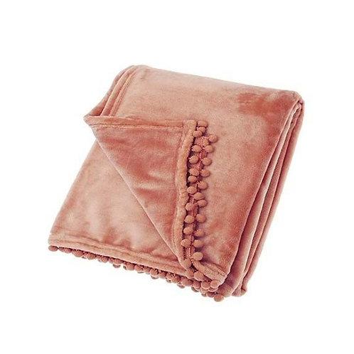 Blush Pink Cashmere Touch Fleece Throw