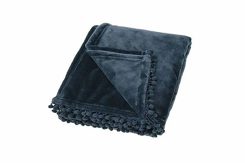 Slate Blue Cashmere Touch Fleece Throw