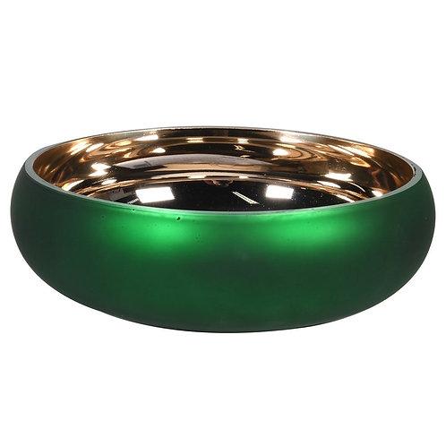 Matt Green & Gold Glass Bowl