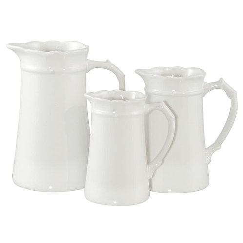 Set of 3 White Jugs