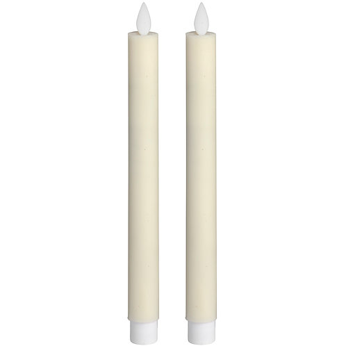 Pair Of Cream Luxe Flickering Flame LED Wax Dinner Candles