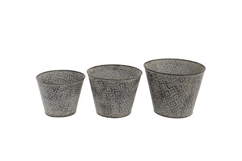 Set of 3 Embossed Pots