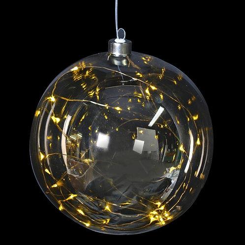 Large Lit Smoked Grey Glass Ball