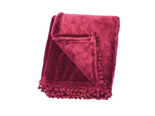 Orchid Pink Coloured Cashmere Touch Fleece Throw