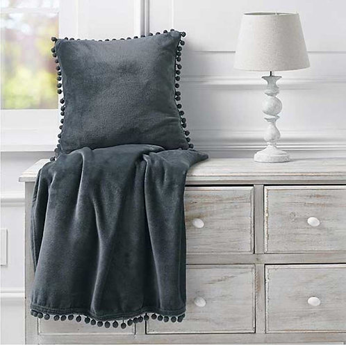 Charcoal Coloured Cashmere Touch Fleece Throw