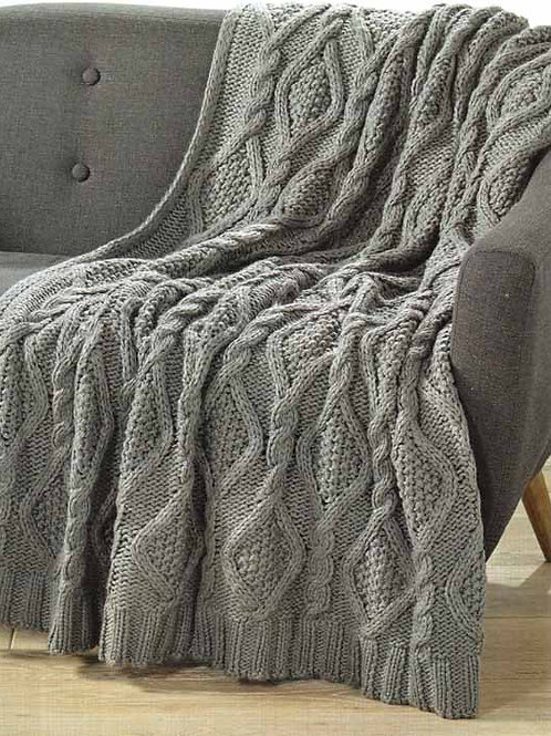 Storm Grey Cable Knit Throw