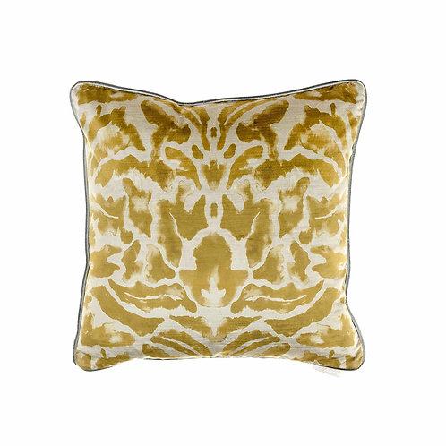 Nikko Citrine Printed Velvet Cushion