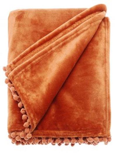 Burnt Orange Cashmere Touch Fleece Throw