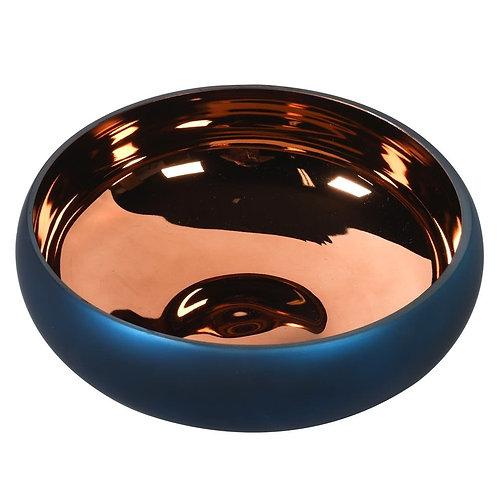 Matt Blue & Bronze Glass Bowl