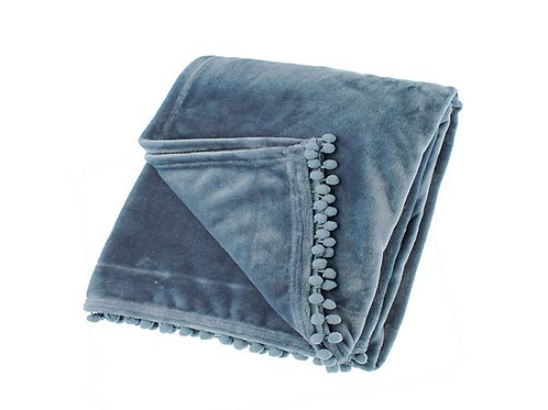 Smoke Blue Cashmere Touch Fleece Throw