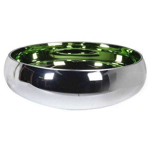 Silver & Green Glass Bowl