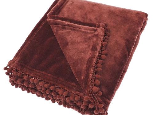Chesnut Coloured Cashmere Touch Fleece Throw